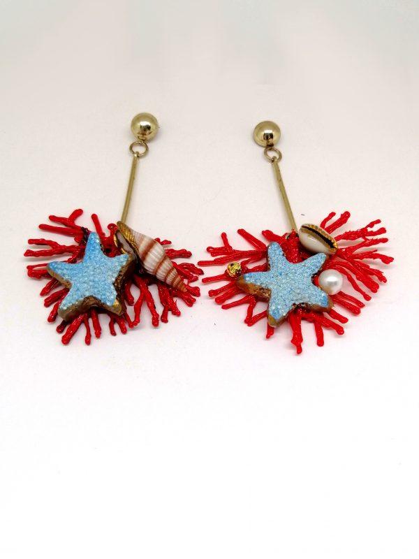 Orecchini corallo rosso stars